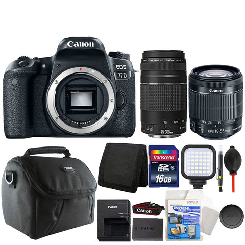 Canon EOS 77D DSLR Camera with 18-55mm IS STM Lens , 75-300mm Lens and Accessory Kit