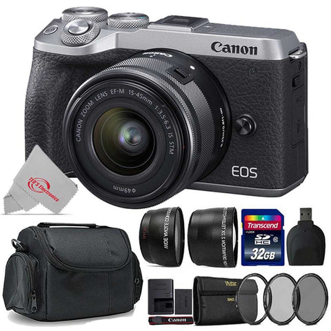Canon EOS M6 Mark II 32.5MP Mirrorless Digital Camera Silver with 15-45mm Lens + Top Acccessory Kit