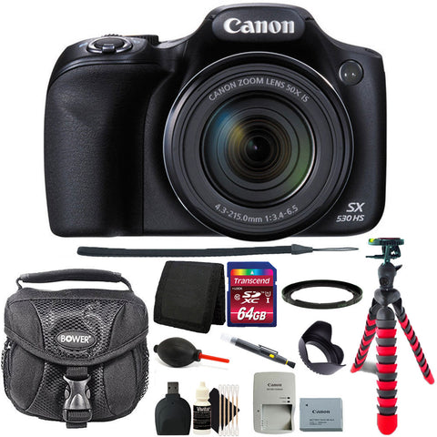 Canon PowerShot SX530 HS 16MP WiFi Digital Camera with 64GB Accessory Kit Black