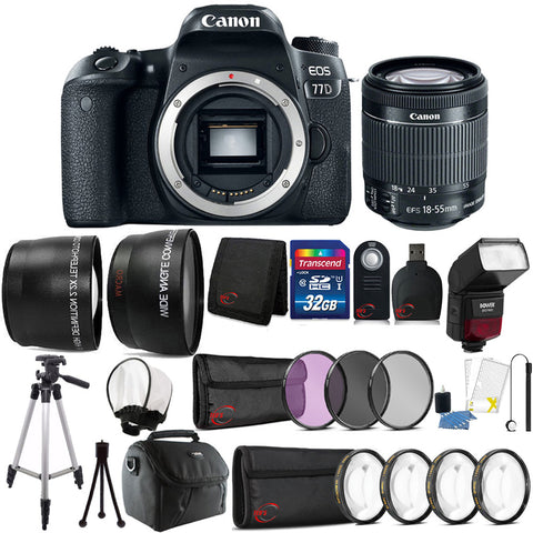 Canon EOS 77D DSLR Camera with 18-55mm IS STM Lens , TTL Flash and Accessory Bundle