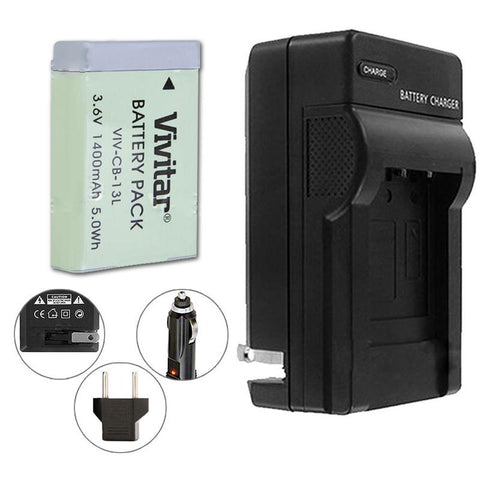 VIVITAR VIV-QCB-217 Battery Charger + NB-13L Replacement Battery for Canon NB-13L Battery (for Canon G5 X, G7 X, G7 X Mark II, G9 X, G9X Mark II, SX720 HS)