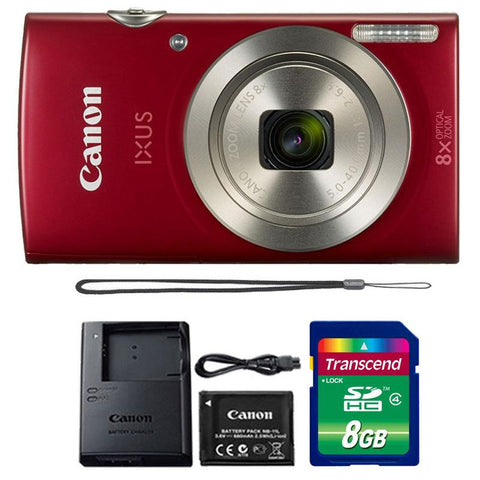 Canon IXUS 185 / ELPH 180 20MP Digital Camera Red with 8GB Accessory Kit