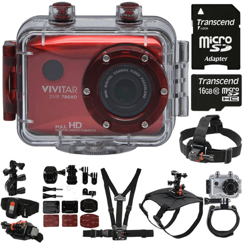 Vivitar DVR786HD HD Waterproof Action Camcorder Red with Deluxe Accessory Bundle