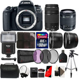 Canon EOS Rebel 77D 24.2MP Full HD 1080p Wifi NFC with EF-S 18-55 IS STM Lens + EF 75-300mm Lens + Top Bundle