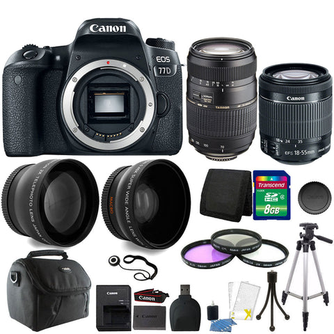 Canon EOS 77D 24.2MP DSLR Camera with 18-55mm IS STM Lens , 70-300mm Lens and 8GB Accessory Kit