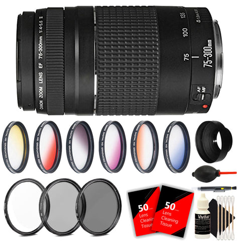Canon EF 75-300mm f/4-5.6 III Telephoto Zoom Lens with Accessory Kit for Canon DSLR Cameras