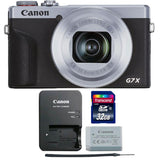 Canon PowerShot G7 X Mark III Full HD 120p Video Digital Camera - Silver with 32GB Memory Card