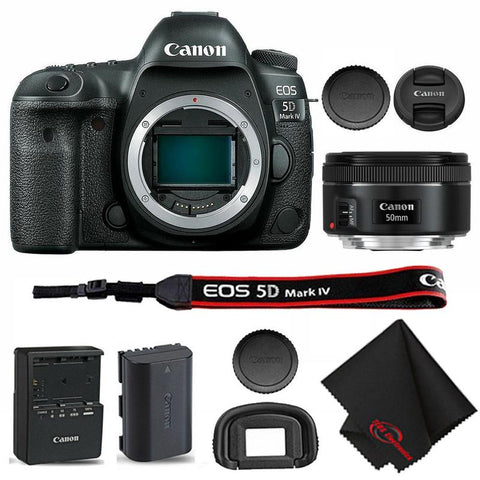 Canon EOS 5D Mark IV Full Frame Wi-Fi DSLR Camera Body with Canon EF 50mm f 1.8 STM Lens and Cloth
