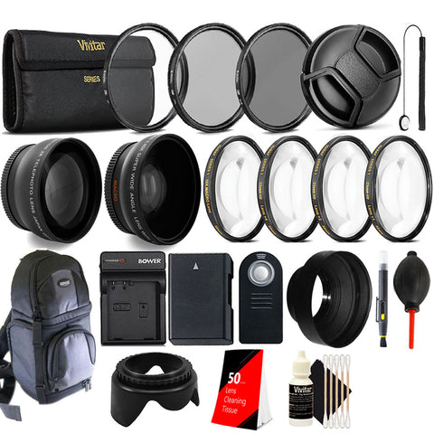 Complete 52mm Lens Accessory Kit with Replacement EN-EL14 Battery and Charger