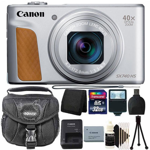 Canon PowerShot SX740 20.3MP 20.3MP HS Digital Camera Silver with 32G Card + Top Accessory Kit