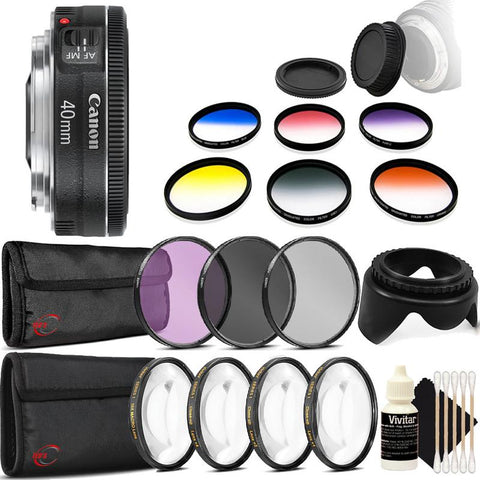 Canon EF 40mm f/2.8 STM Lens with Accessory Bundle For Canon EOS 77D , 80D , 760D and 1300D