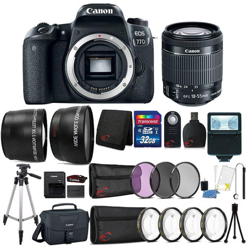 Canon EOS 77D 24.2MP DSLR Camera with 18-55mm Lens , Canon 100ES Case and 32GB Ultimate Accessory Kit