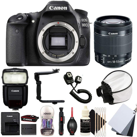 Canon EOS 80D DSLR Camera with 18-55mm IS STM Lens , 430EX lll Non RT Flash and Accessory Kit