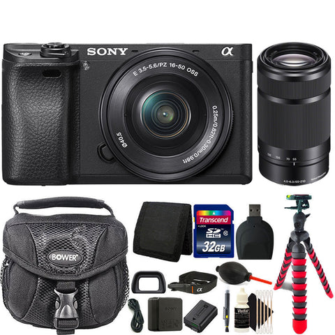 Sony Alpha a6300 Digital Camera (Black) with 16-50mm and 55-210mm Lens Bundle