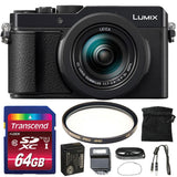 PANASONIC Lumix DC-LX100 II 17MP Electronic Viewfinder Digital Camera Black with UV Filter and Memory Card