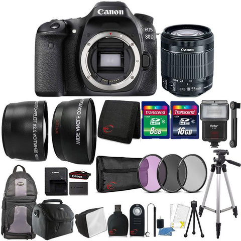 Canon EOS 80D 24.2MP Digital SLR Camera with 18-55mm Lens and Top Accessory Kit