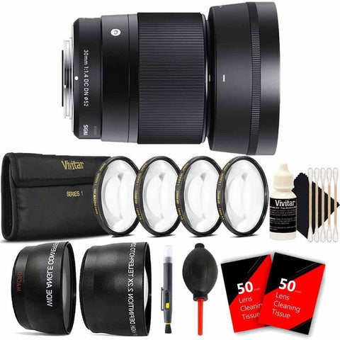 Sigma 30mm f/1.4 DC DN Contemporary Lens for Sony E Mount Camera Top Bundle