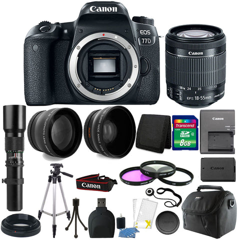 Canon EOS 77D DSLR Camera with 18-55mm IS STM Lens , 500mm Lens and Accessory Kit