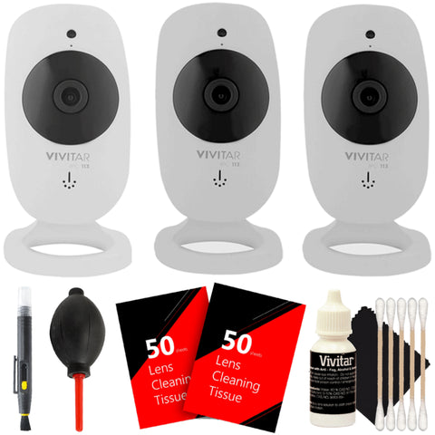 Three Vivitar IPC-113 Wireless HD Safety Video Cameras with Cleaning Accessory Kit