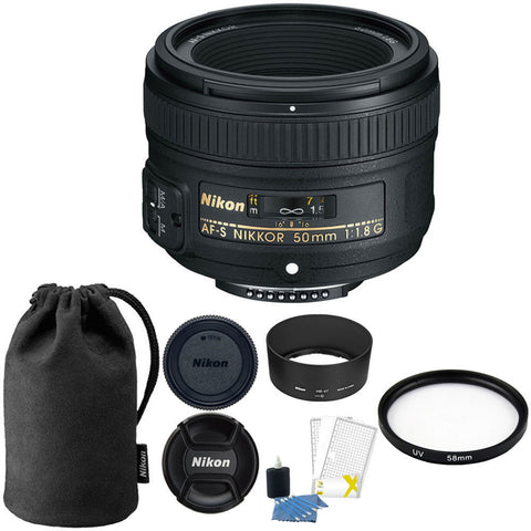 Nikon AF-S 50mm f/1.8G Lens with Accessories for Nikon Digital SLR Cameras