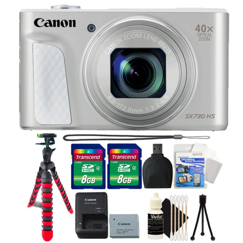 Canon Powershot SX730 HS 20.3MP Digital Camera Silver with 64GB Accessory Kit