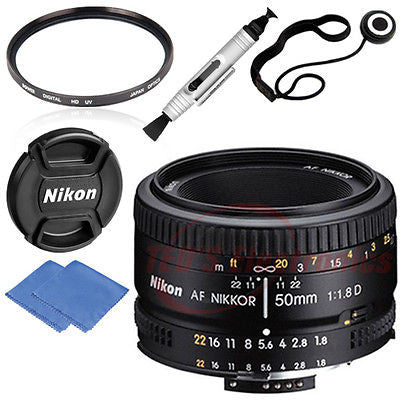 Nikon 50mm 1.8D AF Nikkor Lens for Nikon Digital SLR Camera + Lens Caps & MORE