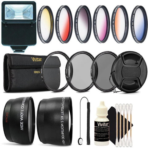 52MM Complete Professional Lens Accessory Kit with Slave Flash for Nikon D5100 D5200 and D5300
