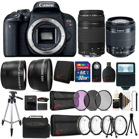 Canon EOS Rebel T7i 24.2MP Built-In WIFI 1080p Video Digital SLR Camera with EF-S 18-55mm Lens and EF 75-300mm Lens + Filters and Lens Addition Bundle