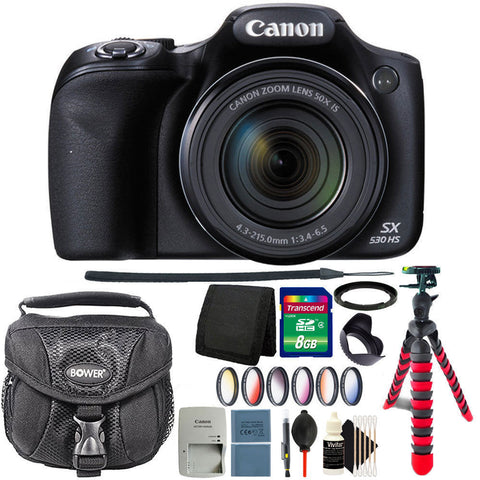 Canon PowerShot SX530 HS 16MP Digital Camera Black + 8GB Deluxe Accessory Kit