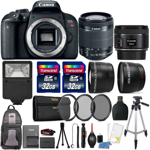 Canon EOS Rebel T7i 24.2MP DSLR Camera with 18-55mm IS STM Lens , 50mm f/1.8 STM lens and Accessory Kit
