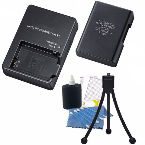 MH-24 Replacement Charger with ENEL 14 Replacement Battery for Nikon D3000 D3100 D3200 D3300 D5100 D5200 D5300 D5500