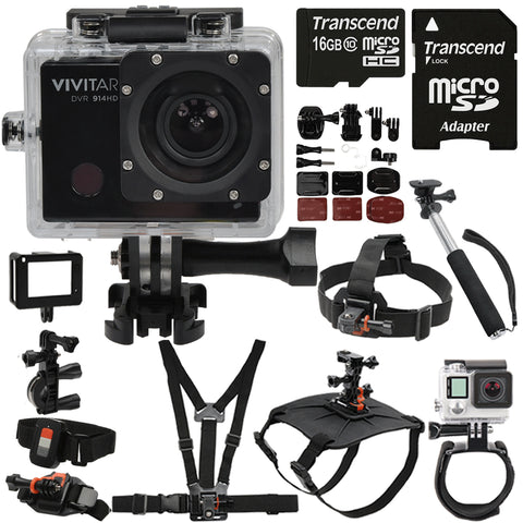 Vivitar DVR914HD HD Wi-Fi Waterproof Action Video Camera Camcorder with 16GB Accessory Bundle