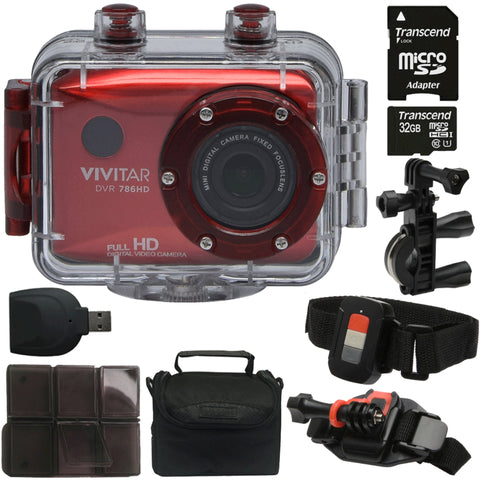 Vivitar DVR786HD HD Waterproof Action Camera Camcorder Red with Great Value Kit