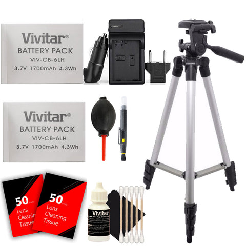 2 Vivitar NB-6L NB-6LH Battery with Charger and Accessories