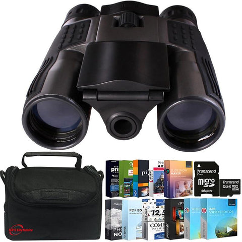 Vivitar VIV-CV-1225V 8MP 2-in-1 Binoculars and Digital Camera Black  + 32GB MicroSD Card +  Photo and Video Pro Software Bundle + Case