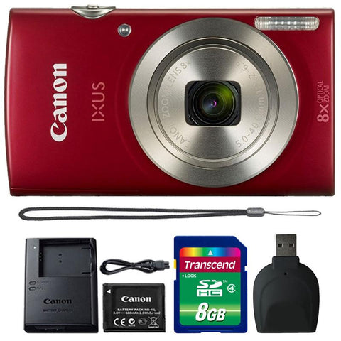 Canon IXUS 185 / ELPH 180 20MP Digital Camera Red with Accessory Kit
