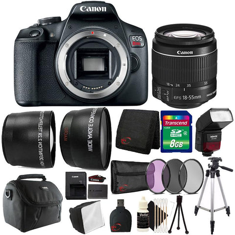 Canon EOS Rebel T7 DSLR Camera + 18-55mm Lens + 58mm 3pc Filter Kit + Wide Angle & Telephoto Lens + 8GB Memory Card + Case + Lens Cap Holder + Slave Flash + Diffuser + Card Reader + Wallet + Cleaning Kit + Large Tripod + Small Tripod