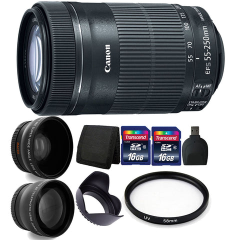 Canon EF-S 55-250mm F4-5.6 IS STM Lens with Accessory Kit for Canon 77D , 80D , 760D and 1300D