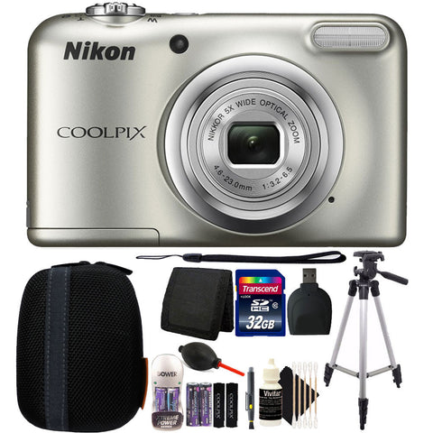 Nikon COOLPIX A10 16.1 MP Compact Digital Camera + 32GB Premium Bundle - Silver