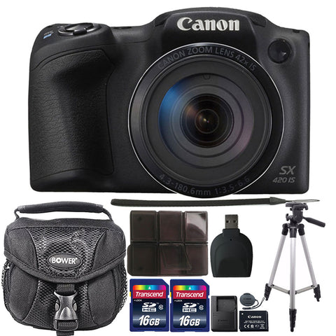Canon PowerShot SX420 IS 20.0MP Built-In Wi-Fi Digital Camera Black with Accessories