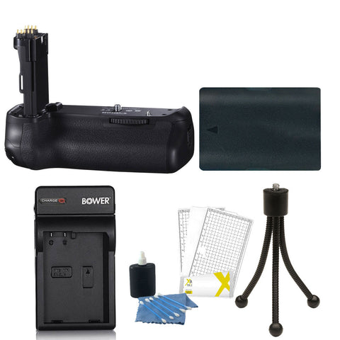 Vivitar Deluxe Power Grip For Canon 70D and 80D D-SLR Camera + Battery + 3pc Cleaning Kit + Mini Tripod