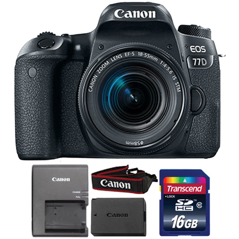 Canon EOS 77D 24.2MP Digital SLR Camera with 18-55mm IS STM Lens and 16GB Memory Card