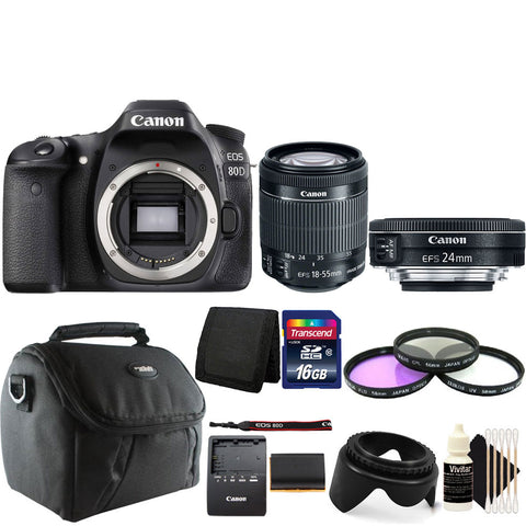 Canon EOS 80D DSLR Camera with 18-55mm IS STM Lens , 24mm 2.8 STM Lens and Accessory Kit