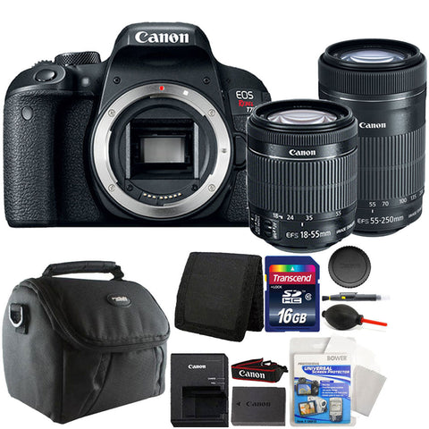 Canon EOS Rebel T7i 24.2MP DSLR Camera with 18-55mm IS STM Lens , 55-250mm IS STM Lens and Accessory Bundle