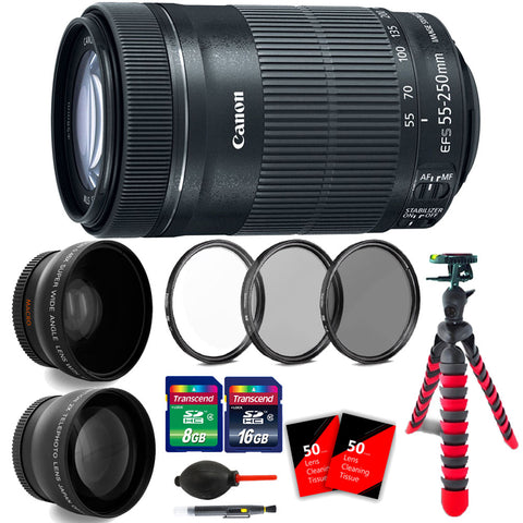 Canon EF-S 55-250mm F4-5.6 IS STM Lens with Accessories for Canon Digital SLR Cameras