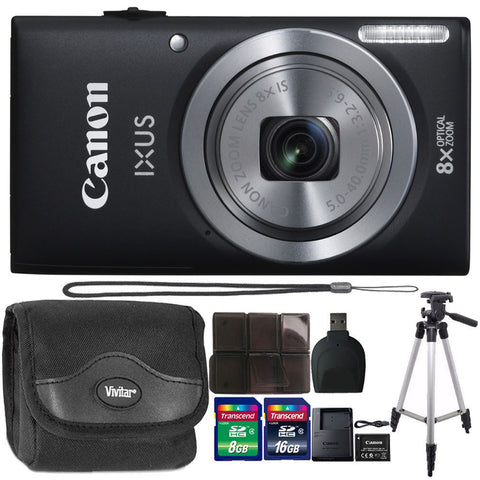 Canon IXUS 185 / ELPH 180 20.0MP Digital Camera 8x Optical Zoom Black with 24GB Accessory Kit
