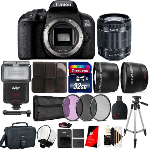 Canon EOS 800D / T7i 24 2MP Digital SLR Camera + 18-55 IS STM Lens + Canon  Case, Flash and More Accessories