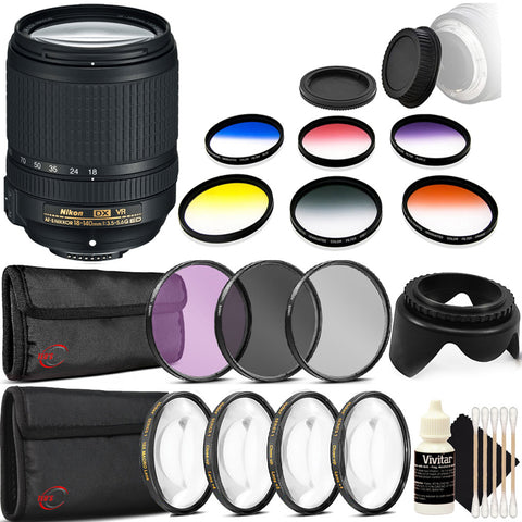 Nikon AF-S DX NIKKOR 18-140mm f/3.5-5.6G ED VR Lens with Accessory Kit For Nikon D5300 , D5500 , D7100 and D7200