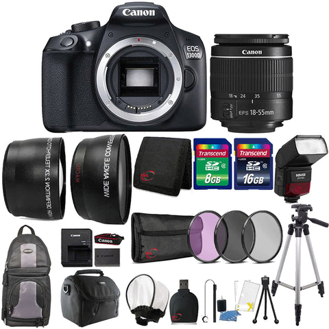 Canon EOS 1300D / T6 DSLR Camera with 18-55mm III Lens , TTL Speedlite Flash and Top Accessory Bundle
