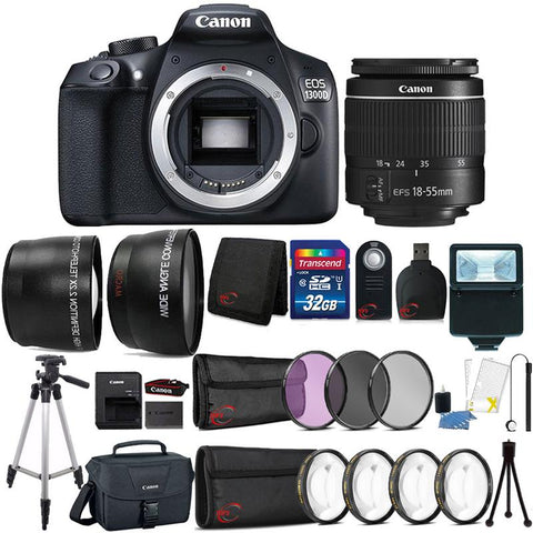 Canon EOS 1300D 18MP DSLR Camera with 18-55mm Lens , Canon 100ES Case and 32GB Ultimate Accessory Bundle
